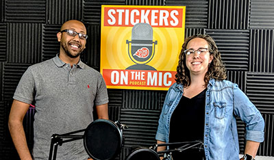 Betsy-Lay-from-Lady-Justice-Brewing-with-Sam-on-Marketing-Team-at-StickerGiant-for-the-Stickers-on-the-Mic-Podcast-Recording