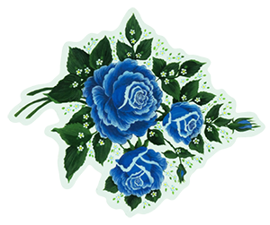 Blue-Roses-Designed-by-Edna-Gingerich-and-Printed-as-Custom-Clear-Stickers-by-StickerGiant