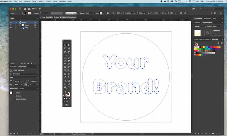Example of Outlined Font in an Adobe Illustrator File