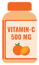 Graphic-of-a-Vitamin-C-bottle-with-a-Custom-Label-as-an-example-of-a-health-product-label-that-can-be-printed-on-roll-by-StickerGiant