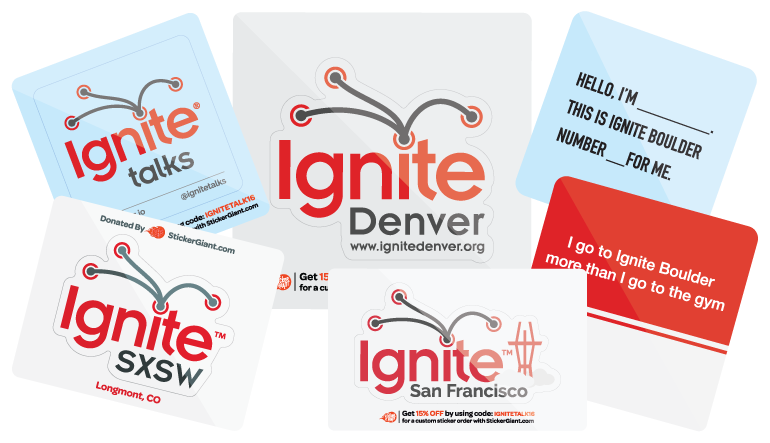 Sticker sponsorships for ignite talks