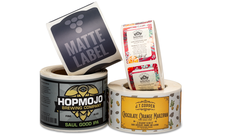 Rolls-of-Matte-Labels-printed-by-StickerGiant-with-four-diifferent-designs
