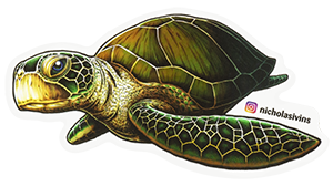Sea-Turtle-Painting-by-Nicholas-Ivins-Printed-as-Die-Cut-Sticker-by-StickerGiant