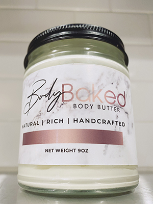 Glossy Label on Body Butter jar with a marbled and gradient effect