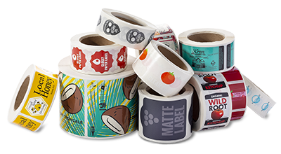 Stacks-of-Custom-Printed-Rolled-Labels-from-StickerGiant