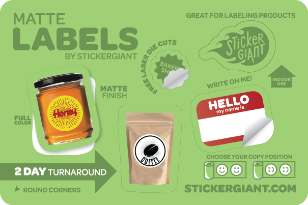 Custom Matte Labels and Stickers