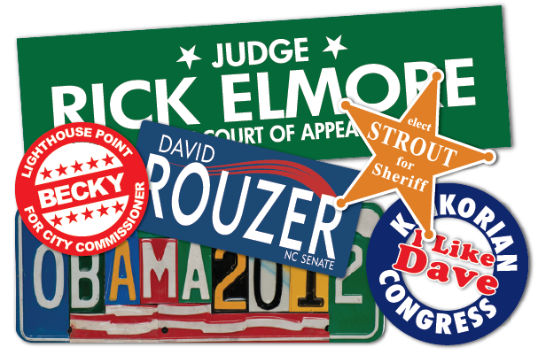 Custom political sticker examples